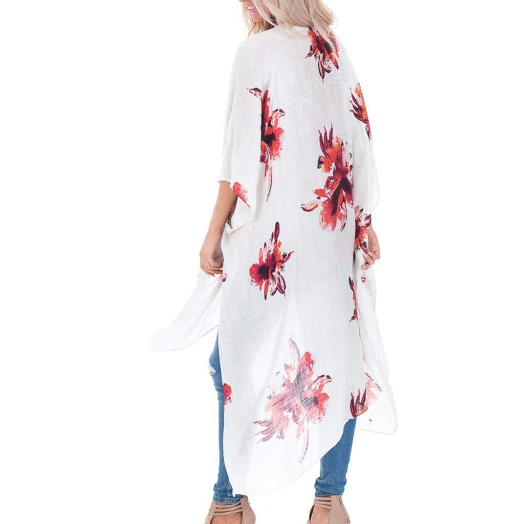 LQJstore Fashion Womens Floral Print Cardigan Kimono Ladies Long Blouse Loose Tops Long Outwear