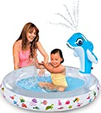 Bundaloo Inflatable Kiddie Pool for Baby | Fun for Toddlers with Dolphin Water Sprinkler | Attach to Any Garden Hose