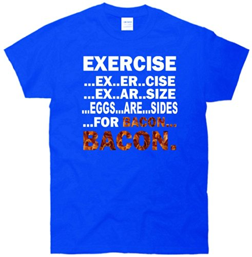 exercise bacon t-shirt blue m