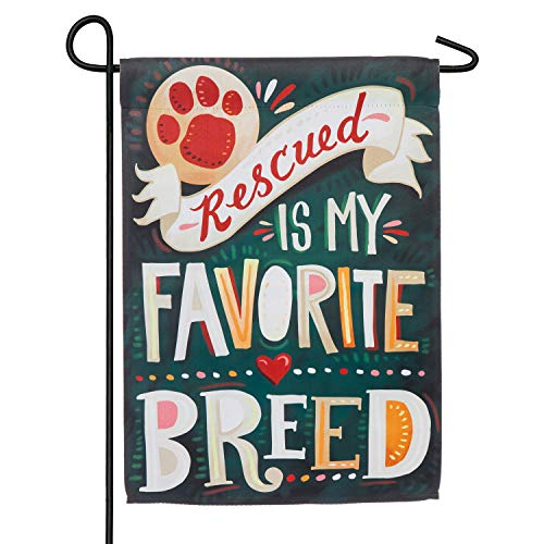 Evergreen Flag Rescued is My Favorite Breed Garden Suede Flag