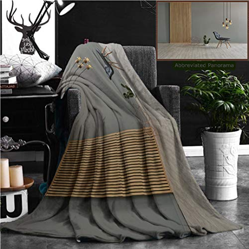 - Nalagoo Unique Custom Flannel Blankets Gray Wall In Front Of Modern Wooden Separator Modern Pendant Lamp Textured Wood Laminate Flo Super Soft Blanketry for Bed Couch, Throw Blanket 60