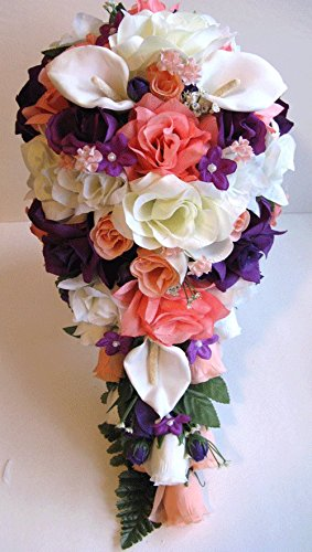Amazon Wedding Bouquet Bridal Silk Flower Coral Peach Purple