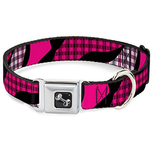 Dog Collar Seatbelt Buckle Buffalo Plaid Abstract White Black Fuchsia 9 to 15 Inches 1.0 Inch Wide (Abstract Belt Buckle)
