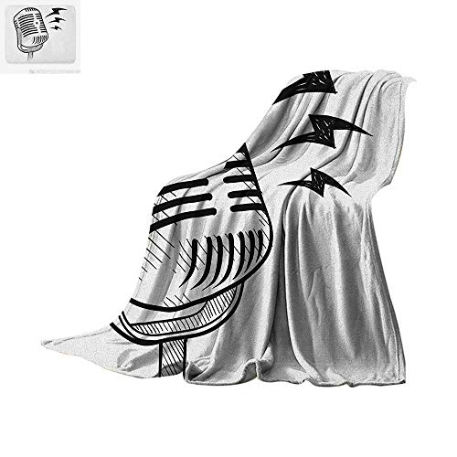 """Doodle Digital Printing Blanket Retro Microphone Communication and Media Concept Radio Show Speech Talk Podcast Oversized Travel Throw Cover Blanket 60""""x36"""" Black White"""