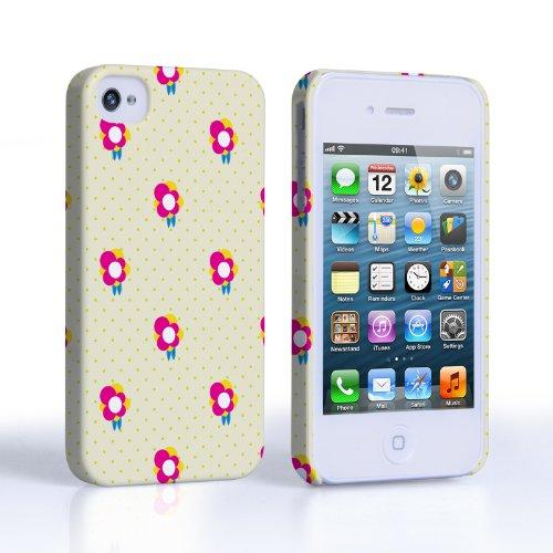 Caseflex iPhone 4 / 4S Hülle Gelb / Rosa Delikat Tüpfel Und Blumen Hart Schutzhülle