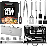 ROMANTICIST 23pc Must-Have BBQ Grill Accessories Set with Thermometer in Aluminum Case