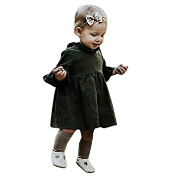 5ddeeee08c98a Amazon.co.jp: Racazing 幼児 キッズ服 子供洋服 無地 ドレス 蓮の葉 5 ...