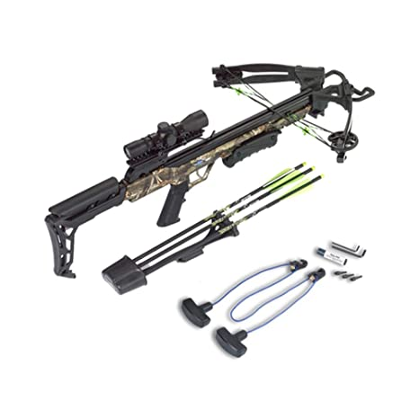Review Carbon Express Blade X-Force Blade Crossbow Ready-to-Hunt Kit (Rope Cocker, 3 Bolt Quiver, 3 Crossbolts, Rail Lubricant, 3 Practice Points, 4x32x 40mm)