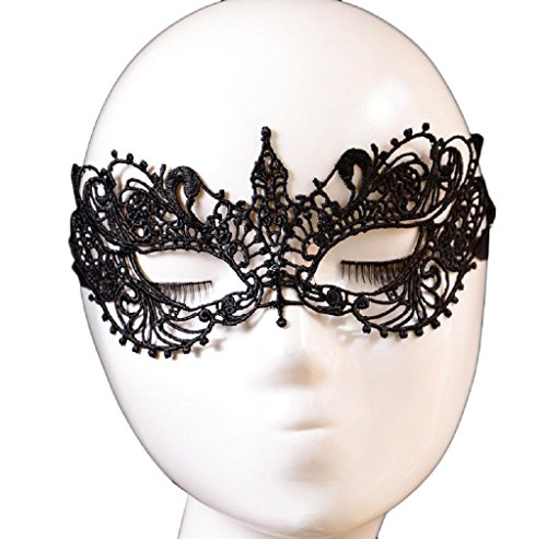 [Party Eye Mask, FTXJ Lace Floral Venetian Masquerade Fancy Party Dress Mask Black] (Black Masquerade Dress)
