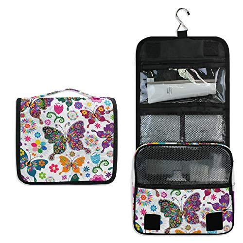 Hanging Travel Toiletry Bag Colorful Butterfly Kit Makeup Case Cosmetics Organizer for Men Women by domook -