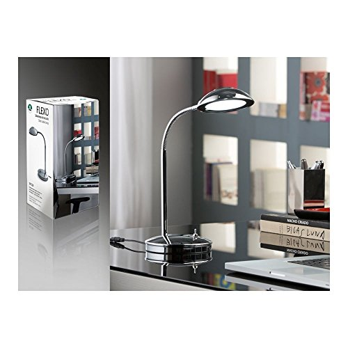 Schuller Spain 367329I4L Modern Chrome Adjustable Table Lamp 1 Light Living Room, bed room, Study, Bedroom LED, Chrome Adjustable neck desk lamp | ideas4lighting by Schuller