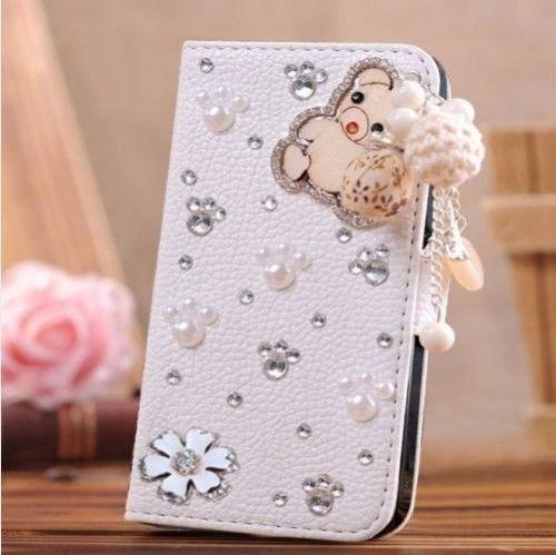 White Luxury 3D Fashion Handmade Bling Diamond PU Flip Leather Case Cover For Smart Mobile Phones 2 (Samsung Galaxy Grand 2 G7102 G7106, Bear)
