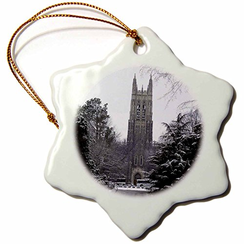 - 3dRose orn_55281_1 Duke University Chapel Durham Snowflake Decorative Hanging Ornament, Porcelain, 3-Inch