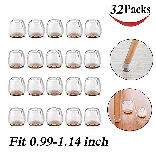 32 Pack Chair Leg Caps Silicone Floor Protector Round Furniture Table Feet Covers ()