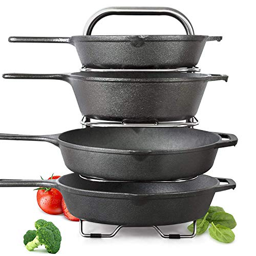 BetterThingsHome 5-Tier Height Adjustable Pan and Pot Organizer Rack: Adjust in increments of 1.25