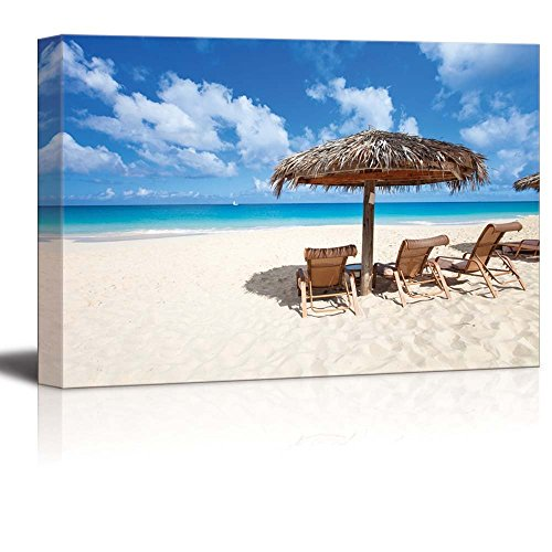 Canvas Prints Wall Art - Chairs and Umbrella on a Beautiful Tropical Beach at Anguilla, Caribbean Sea | Modern Home Deoration/Wall Decor Giclee Printing Wrapped Canvas Art Ready to Hang - 24