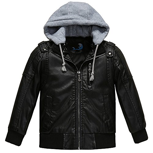 Budermmy Boys Removable Hood Faux Leather Jacket Outdoor Winter Coat Black Size 12