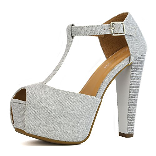 (DailyShoes Women's Peep Toe Platform Sandal Pumps Open Toe Ankle Buckle T-Strap Extreme Evening Party Dress Casual Shoes, Silver GL, 11 B(M) US)