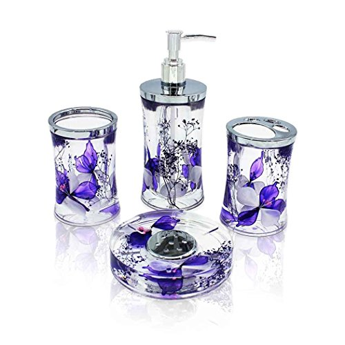 ADUTY Modern Bathroom Washing Accessories Nature Series Bathroom Organizer 4 Sets With Purple Color Dry FlowersAD022