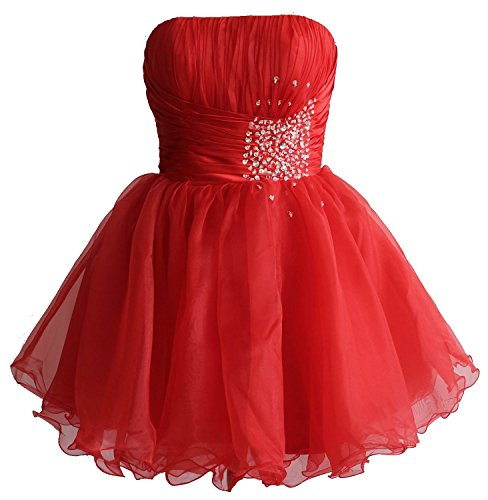 Rot kurze Mini Edaier Cocktail Party Heimkehrkleid Wulstige Damen Kleid Rtxz8