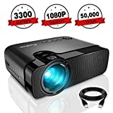 Mini Projector, ELEPHAS 3300 Lumens Portable Home Theater Video Projector Support 1080P HD with 50,000 Hours Lamp Life LED Projector, Compatible with USB/HD/SD/AV/VGA Interfaces