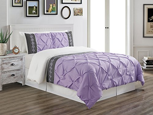 Grand Linen 3 Piece (California) Cal King Size Lilac Purple/White / Grey Double-Needle Stitch Puckered Pinch Pleat All-Season Bedding-Goose Down Alternative Embroidered Comforter Set -