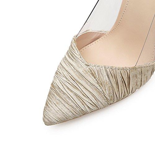 tacco scarpe sexy 39 alta plastica vetro singoli ZHZNVX fine scarpe scarpe profonda beige di donne poco Punta bocca nozze con gqwPXIz