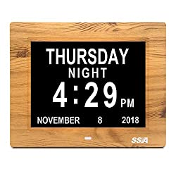 Alarm Clock, 8 inch Digital Calendar Day Clock with Clear Large Non-Abbreviated Day & Month Wall hanging or Desk/Shelf clockDementia Clock Pefect for Memory Loss Elderly Seniors