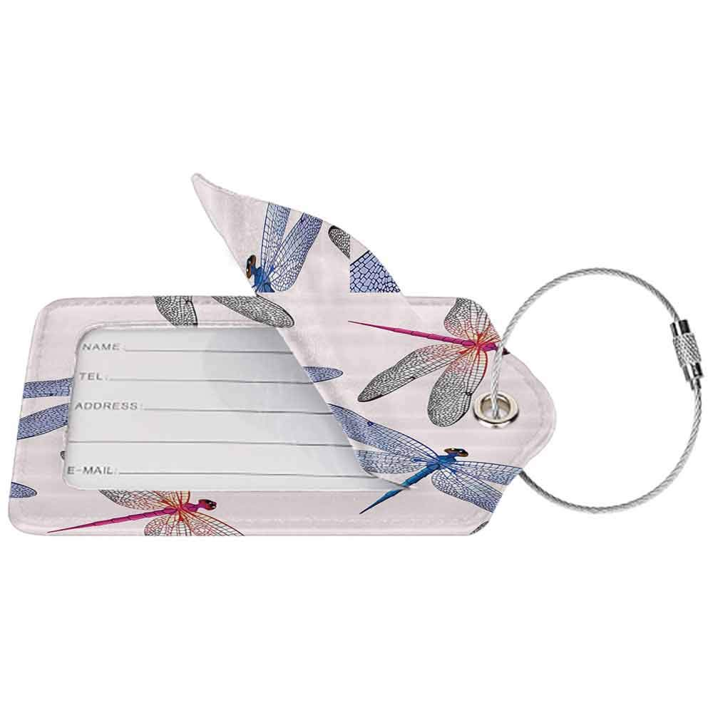 Waterproof luggage tag Country Decor Dragonfly Forms High Detailed Ornate Irregular Macro Retro Simplistic Artsy Print Soft to the touch Pink Blue W2.7 x L4.6