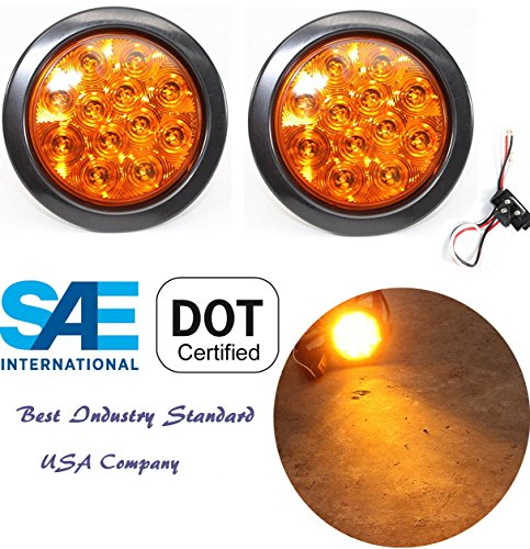 (2) Sparkling 4 Amber Round Turn Tail Parking Signal LED Light for Truck Trailer RV w Plug Grommet