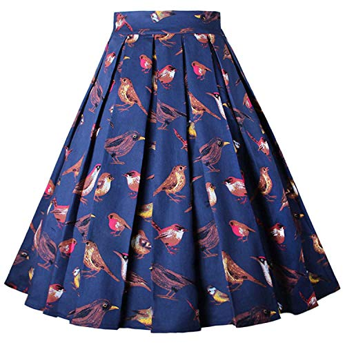 Dressever Women's Vintage A-line Printed Pleated Flared Midi Skirt Birds - Big Vintage Bird