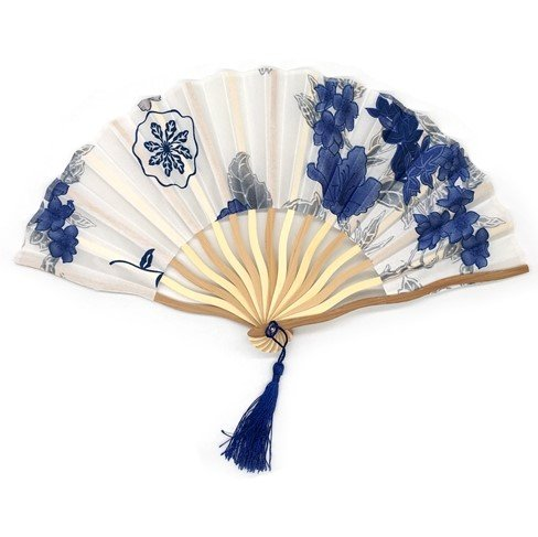 White Blue Bamboo Hollow Flower Hand Fan Folding Pocket Fan Wedding Decoration Mariage by Hand Fan