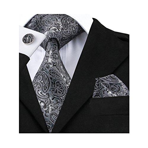 Hi-Tie New Classic Black Grey Paisley Woven Silk Tie Hanky Cufflinks - Grey Black