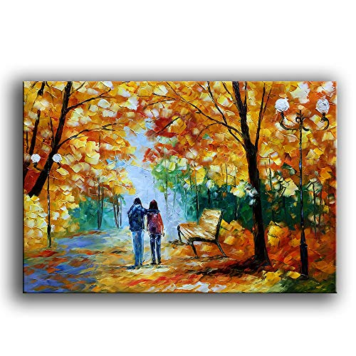 YaSheng Art - Autumn Tree Oil Painting On Canvas Landscape Textured Abstract Contemporary Art Wall Paintings Handmade Painting Home Office Decorations Canvas Wall Art Painting 24x36inch