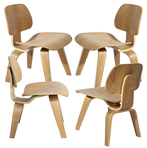 MLF® Eames Molded Plywood Lounge Chair (Natural)(Set of 4)