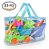 KKONES   Kids Beach Sand Toy Models Set (23PCS)Building Kits Reusable Zippered Bag Bucket Sand Wheel Mini Watering Can Mini Sailing Boat Toy Car Sand Sifter Castle Molds Animal Molds Operating Tool