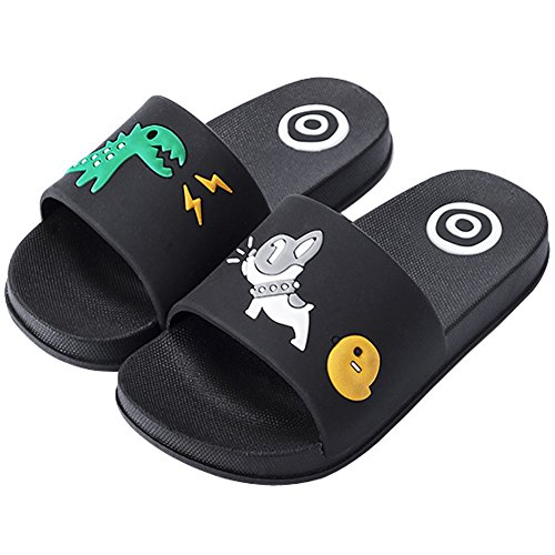 Price comparison product image Anddyam Kids Family Household Anti-Slip Indoor Outdoor Home Slippers for Girls and Boys (US Little Kid (3-4 Years),  Black)