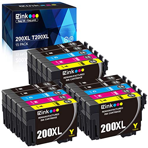E-Z Ink (TM) Remanufactured Ink Cartridge Replacement for Epson 200XL 200 XL T200XL to use with XP-200 XP-300 XP-310 XP-400 XP-410 WF-2520 WF-2530 WF-2540 6 Black, 3 Cyan, 3 Magenta, 3 Yellow, 15 Pack ()