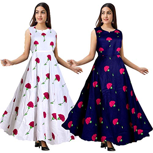 Mudrika Women's Rayon Anarkali Gown (Multicolour, Free Size) -Combo Pack of 2 Pieces