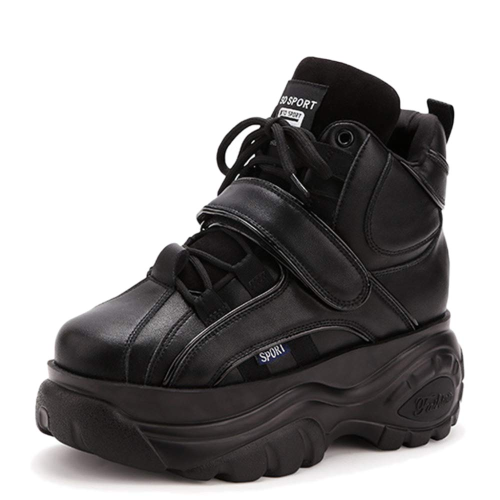 YR-R Mujeres Zapatillas De Deporte Ocasionales Pantalones Gruesos Zapatos De Tacón Alto Con Cordones Para Entrenamiento De Senderismo Al Aire Libre Zapatillas De Running Pisos 35|Black