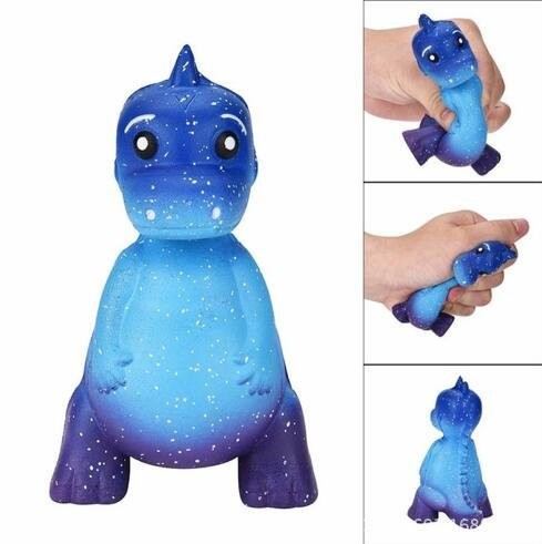 Slow Rising Squishies Jumbo, 12CM Galaxy Dinosaur Rex Scented Squishy Charm Slow Rising Simulation Kid Toy Key Cell Phone Pendant Strap Gift Cure Decor (Blue) MTSZZF