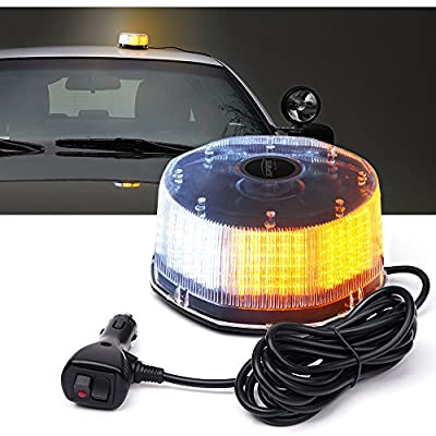 Xprite White Amber Yellow 240 LED Emergency Warning Rotating Strobe Beacon Light, 14 Flash Modes Revolving Safety Caution Lights with Magnetic Mount, for 12V Vehicle Truck Snow Plow: Automotive