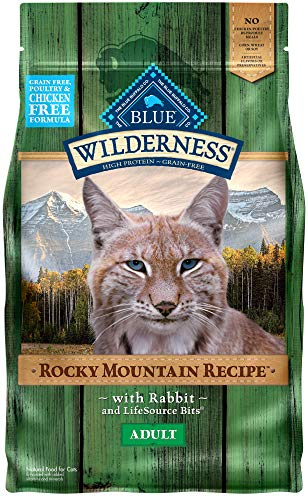Blue Buffalo Wilderness Rocky Mountain Recipe High Protein Grain Free, Natural Adult Dry Cat Food, Rabbit 4-lb (Grain Free Cat Food Rabbit)