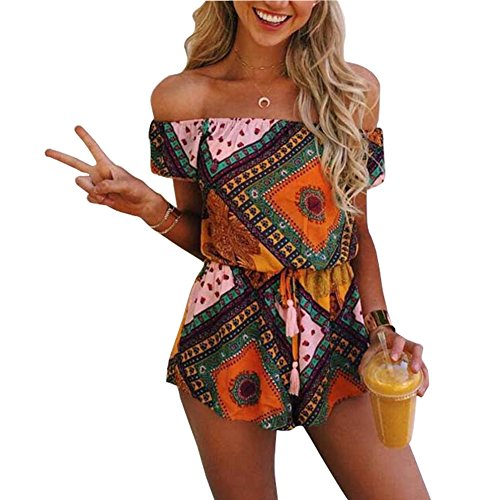 ISYITLTY Women's Summer Casual Strapless Sexy Off Shoulder Cute Short Romper Jumpsuit Playsuit