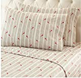 OSVT 4 Piece Taupe Red Tree Stem Stripes Theme Sheet Queen Set, Beautiful Cute Birds Print, Animal Pattern Bedding, Features Hypoallergenic, Eco-Friendly, Fully Elasticized Fitted, Cotton, Flannel
