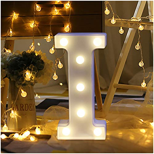 GONGting LED Marquee Letter Lights Sign Light Up Marquee Letters Sign for Bedroom Night Light Wedding Birthday Party Christmas Lamp Home Bar Decoration (I)