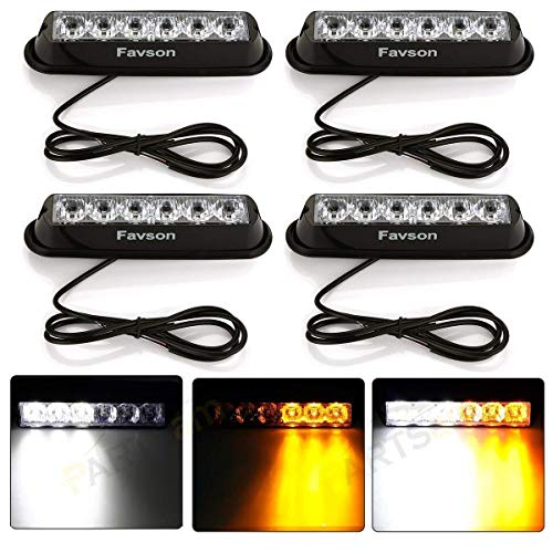Favson 6 LED Strobe Lights for Trucks Cars Van with Super Bright White&Yellow Emergency Flasher(4 pcs) (4pcs) ()