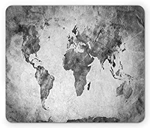 Amazoncom Modern Mouse Pad By Lunarable Vintage World Map With - Black and white vintage world map