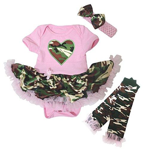 Baby-Dress-Camo-Heart-Pink-Dress-Pink-Bodysuit-Camouflage-Tutu-Leg-Warmer-Nb-18m
