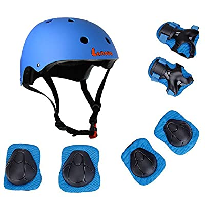 Lanova Kids Adjustable Sports Protective Gear Set Safety Pad Safeguard (Helmet Knee Elbow Wrist) for Roller Bicycle BMX Bike Skateboard Hoverboard and Other Extreme Sports Activities from Lanova